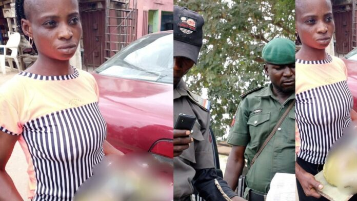 Nigerian Woman gets apprehended for killing her one month baby,blames her baby's daddy for the action(Photo)