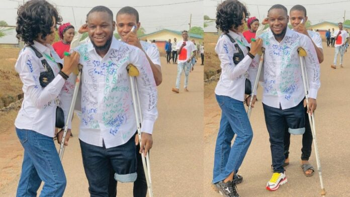 Young Man who lost one leg to stray bullet during the End SARS protest graduates from the university (Photo)