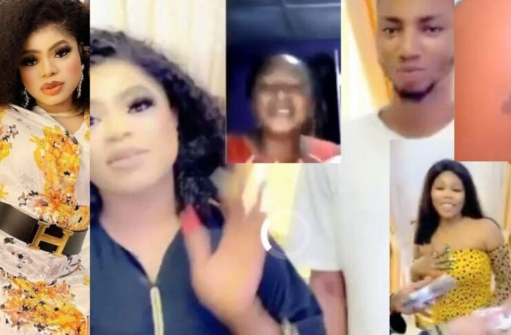 Moments Bobrisky met with the Nigerian guy whose mum begged Bobrisky to acknowledge and others,gifts them cash(video)