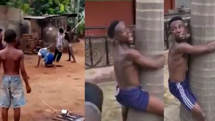 Man Publicly Disciplined for beating up his mother in Anambra (Video)