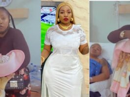 Anita Joseph visits Uche Ogbodo in the hospital after her delivery (Video)
